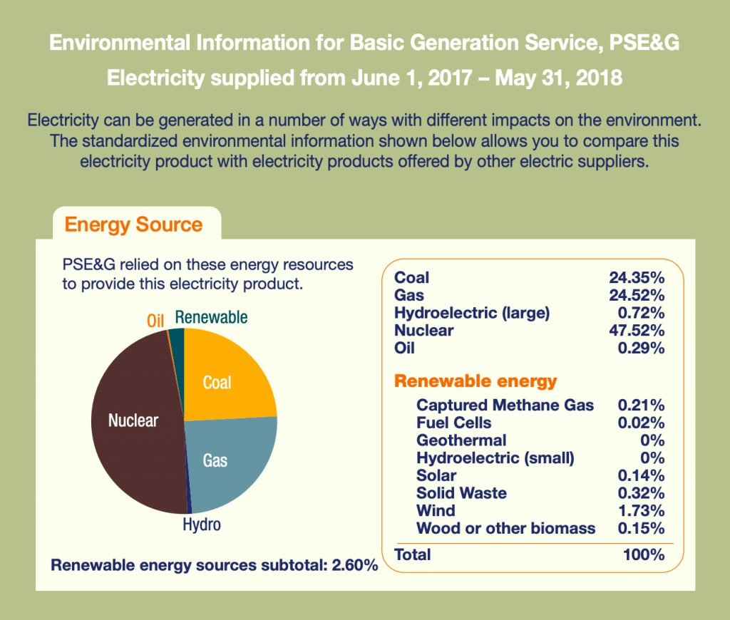 Where PSE&G gets its energy